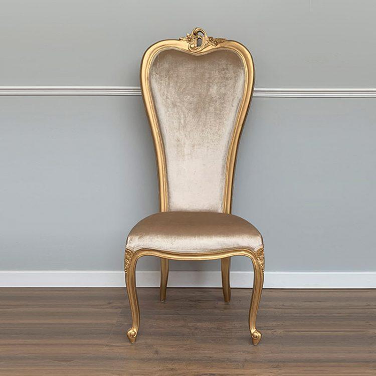 louis xv wedding chair gold frame sand velvet upholstery LXV111 GB